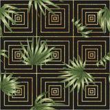 与绿色棕榈树的传染媒介无缝的几何样式在黑背景离开 向量例证