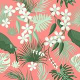 与绿色热带叶子的传染媒介无缝的样式在居住的珊瑚颜色背景 库存例证
