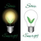 与绿色的电灯泡在白色和黑背景离开 库存照片