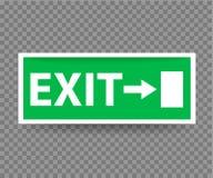 与绿色的紧急出口标志在透明背景 皇族释放例证