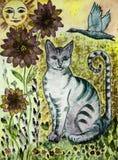 与绿色眼睛的土气绿松石猫,飞行的鹅、太阳和花 免版税图库摄影