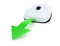 与绿色箭头的计算机鼠标 免版税库存照片