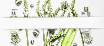 与绿色花和植物的各种各样的化妆产品白色背景的,框架 免版税库存图片
