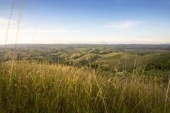 与绿色草甸的美好的风景视图 免版税库存图片