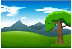 与绿色草甸阳光和山的自然风景 向量例证