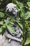 与绿色蕃茄藤的庭院雕象 免版税库存照片