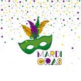 与绿色面具的狂欢节背景与五颜六色的羽毛和五彩纸屑背景 免版税库存图片