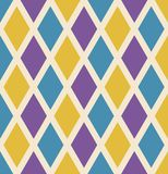 与绿色,黄色和紫色金刚石的狂欢节无缝的重复的背景 假日海报或招贴模板 库存例证