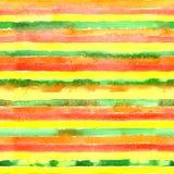与绿色,黄色,红色,橙色颜色条纹的水彩无缝的样式 库存图片