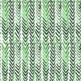 与绿色ikat肋骨的无缝的水彩样式 免版税库存图片
