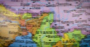 与缅甸国家地区地图的地球 股票录像