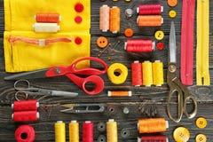 与缝合针线的构成,织品 库存图片