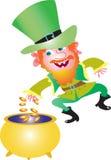 与缸的爱尔兰妖精金子 免版税库存图片