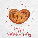 与罂粟种子的小圆面包在心脏形状 库存例证