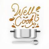 与罐现代3D翻译的好的厨师行情 免版税图库摄影