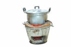 与罐的厨灶 免版税图库摄影