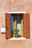 与罐的美丽的橙色窗口在Burano海岛(威尼斯,意大利)开花 库存图片