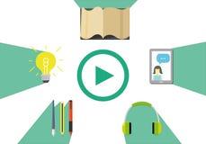与网上教育传染媒介例证的电子教学概念 库存照片