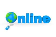 与网上文本的地球 免版税库存图片