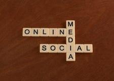与网上词的纵横填字游戏,社会,媒介 数字式marke 免版税库存图片