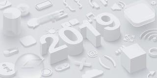 与网标志的灰色2019 3d背景 皇族释放例证