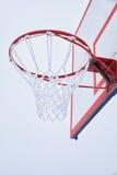 与网的篮球篮,报道由树冰 免版税库存照片