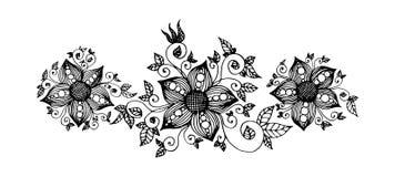 与网眼图案和叶子的手拉的幻想花 皇族释放例证