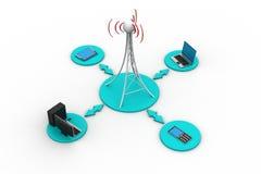 与网络的信号塔 免版税库存图片