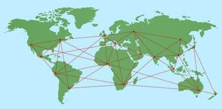 与网络连接的平的世界地图概述-导航例证 免版税库存照片