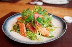 与罕见的油煎的金枪鱼和三文鱼的开胃菜在板材 库存照片