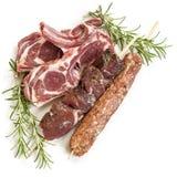 与罗斯玛丽的羊羔炸肉排Souvlaki和Kofta隔绝了 免版税库存图片