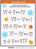 与罗马数字和火柴梗的视觉算术难题 皇族释放例证