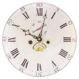 与罗马数字的老时钟表盘 免版税库存照片