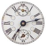 与罗马数字的老时钟表盘 库存照片