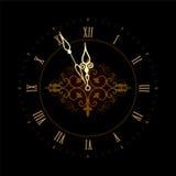 与罗马编号的老时钟 图库摄影
