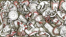 与罗马装甲的军事背景 免版税库存照片