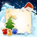 与羊皮纸、树和帽子的圣诞节背景 图库摄影
