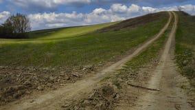 与美丽的云彩的夏天风景 免版税库存图片
