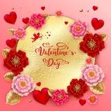 与美丽的五颜六色的花的愉快的情人节横幅和 库存图片