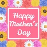 与美丽的五颜六色的花的愉快的母亲节背景 免版税库存照片
