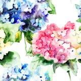 与美丽的八仙花属蓝色花的无缝的样式 免版税库存图片