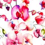 与美丽的兰花花的无缝的样式 库存图片