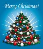 与美丽的圣诞树的快乐的贺卡 图库摄影