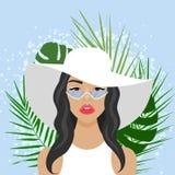 与美丽的妇女的传染媒介例证有帽子的 免版税库存照片