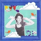 与美丽的妇女的艺术拼贴画 库存照片