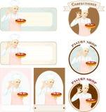 与美丽的妇女糖果商的酥皮点心横幅有蛋糕的 免版税库存图片