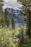 与美丽的山湖的风景 免版税库存照片