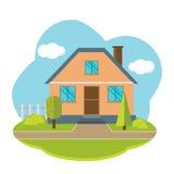 与美丽的房子的传染媒介风景 免版税库存图片