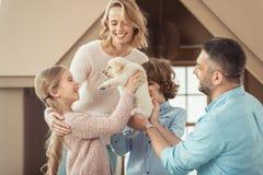 与美丽的拉布拉多小狗的年轻家庭在前面 库存照片