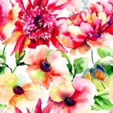 与美丽的桃红色花的无缝的墙纸 库存图片